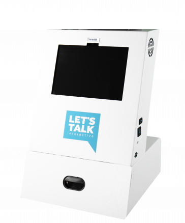 A1 Tabletop Telehealth Kiosk with locking drawer