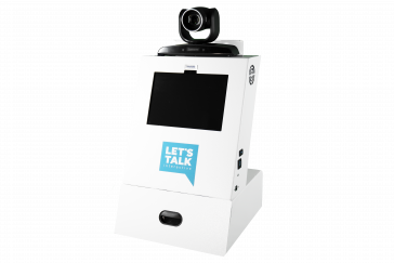 A1 Tabletop Telehealth Kiosk with Locking Drawer and Lumens Pan Tilt Zoom Camera