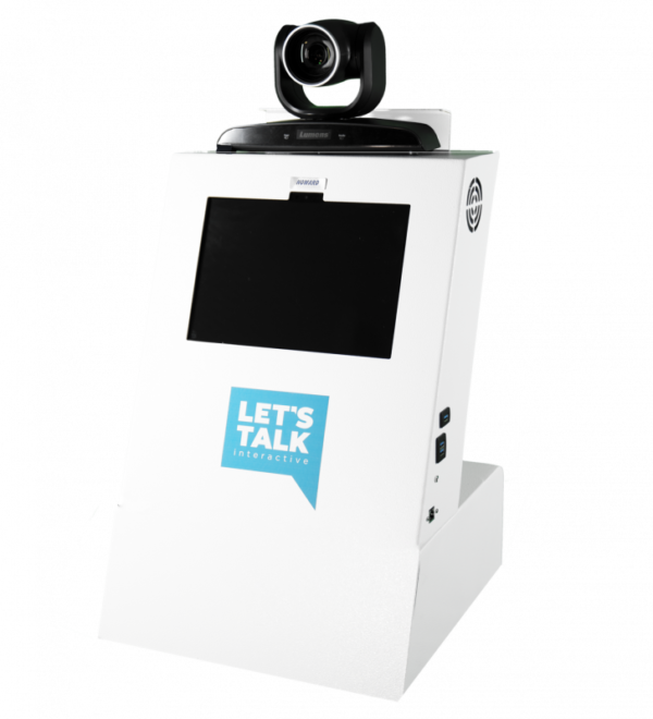 A1 Tabletop Telehealth Kiosk with Locking Drawer and PTZ